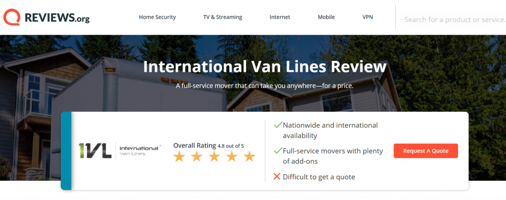reviews.org ranks international van lines 4.8 out of 5 stars